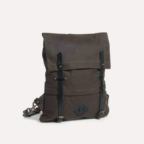 Coursier backpack WAXY - Khaki/Black