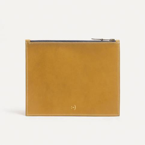 Leather Pouch COSMO M - Yellow