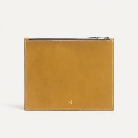 Trousse cuir COSMO M - jaune
