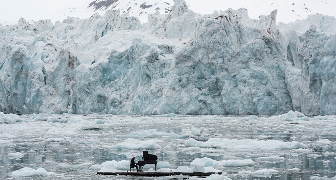 the project is set against the icy backdrop of the wahlenbergbreen glacier in svalbard, norway