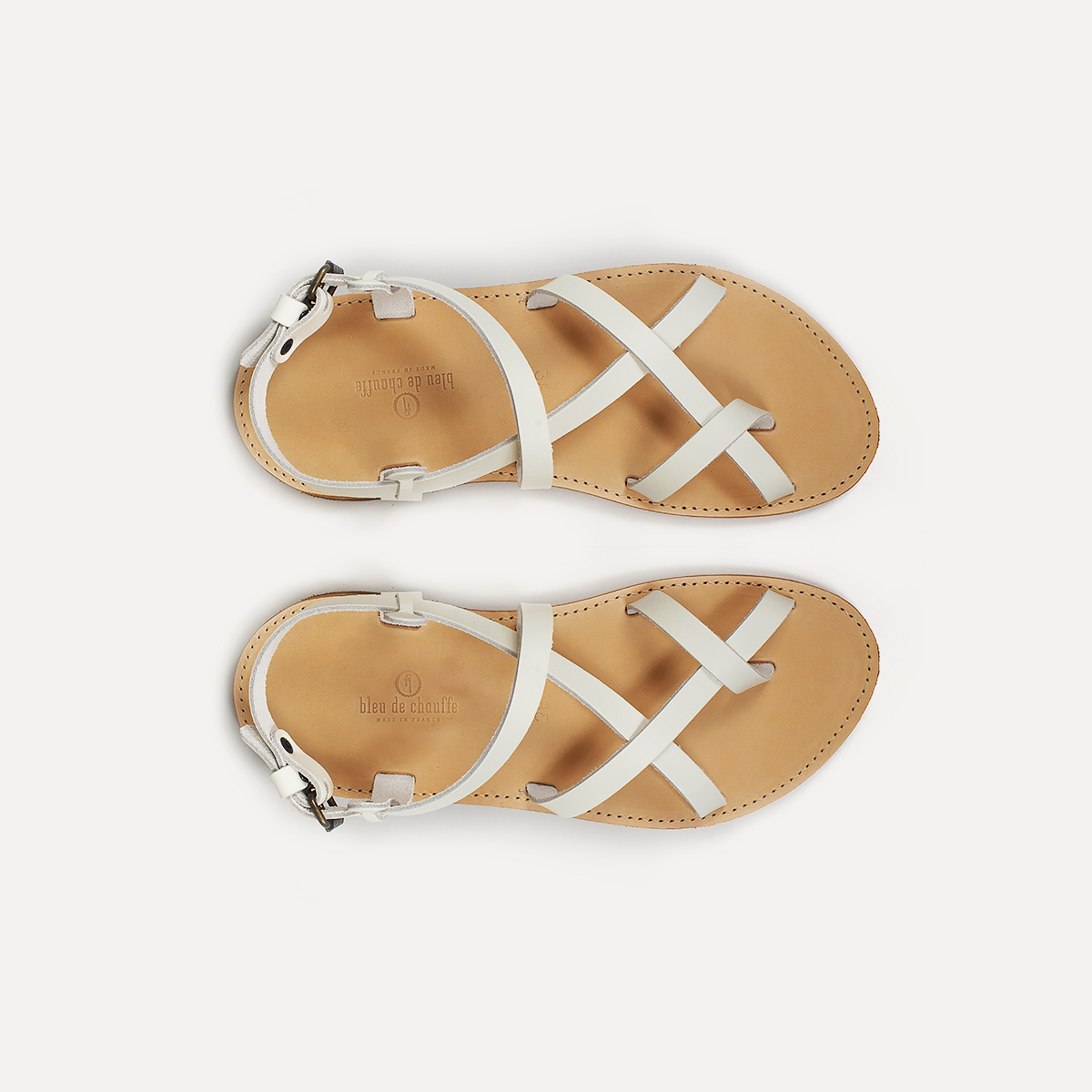 Sandales cuir Nara - Blanc (image n°1)