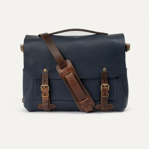 Postman bag Éclair M - Navy blue/Pain brûlé