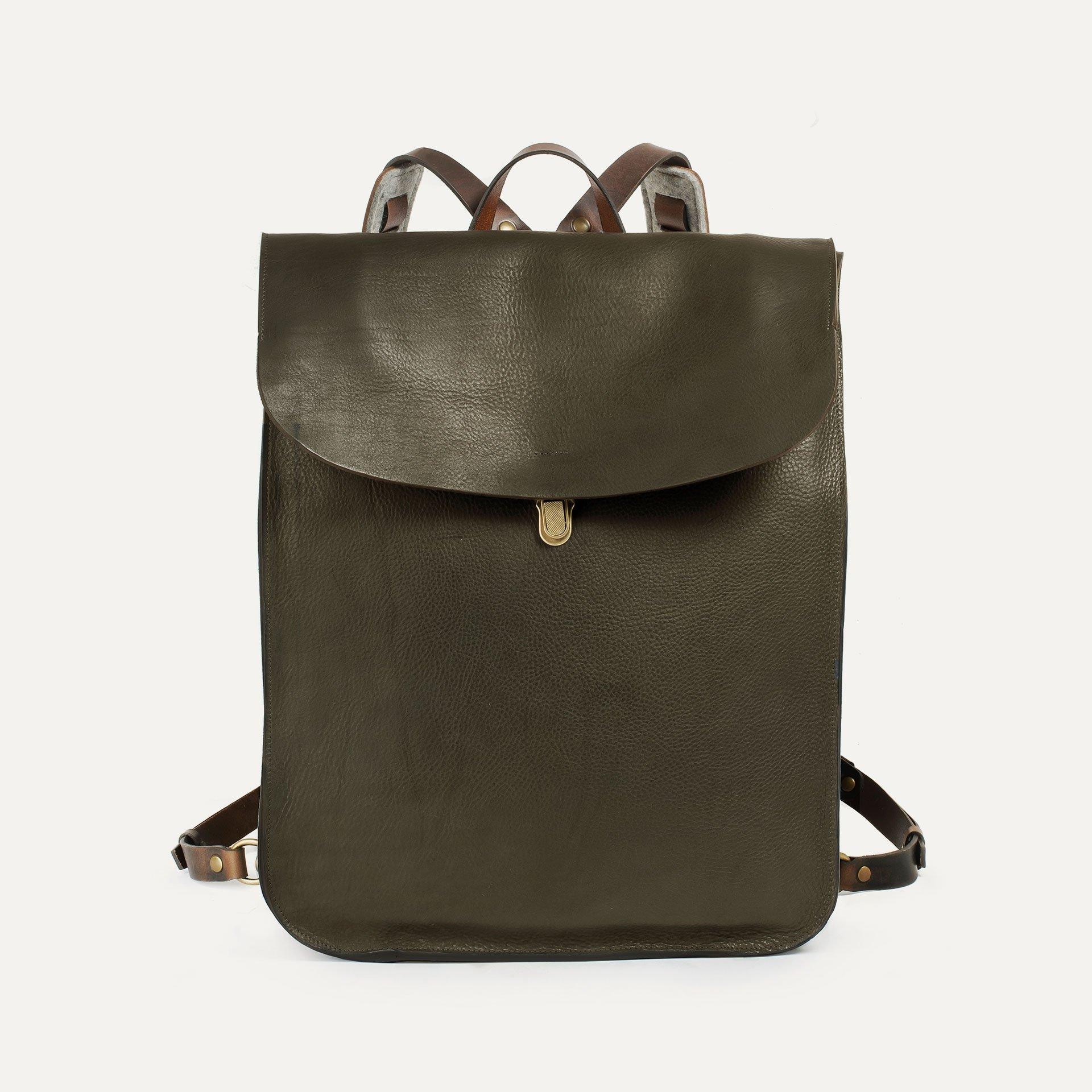 Arlo leather backpack - Khaki / E Pure (image n°1)