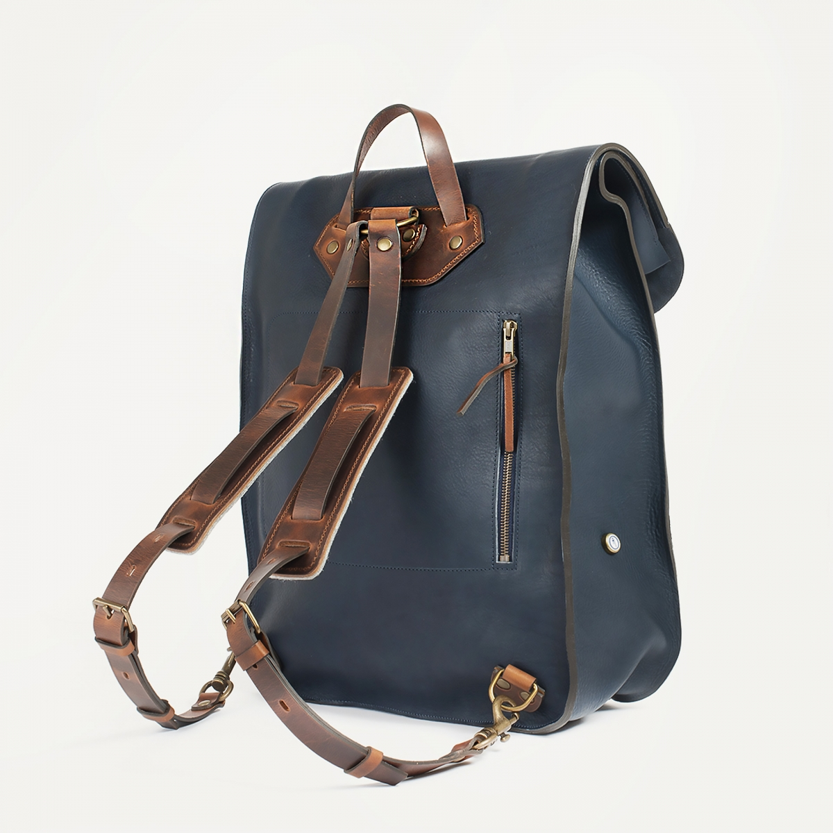 Arlo leather backpack - Navy Blue / E Pure (image n°3)