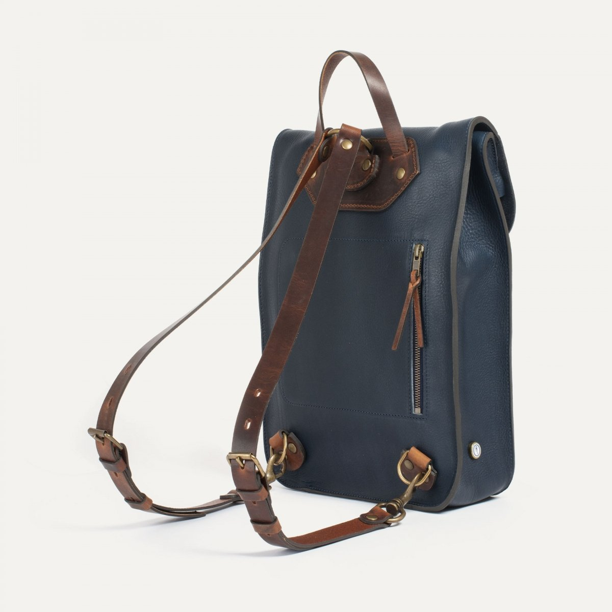 Puncho leather backpack - Navy Blue / E Pure (image n°2)