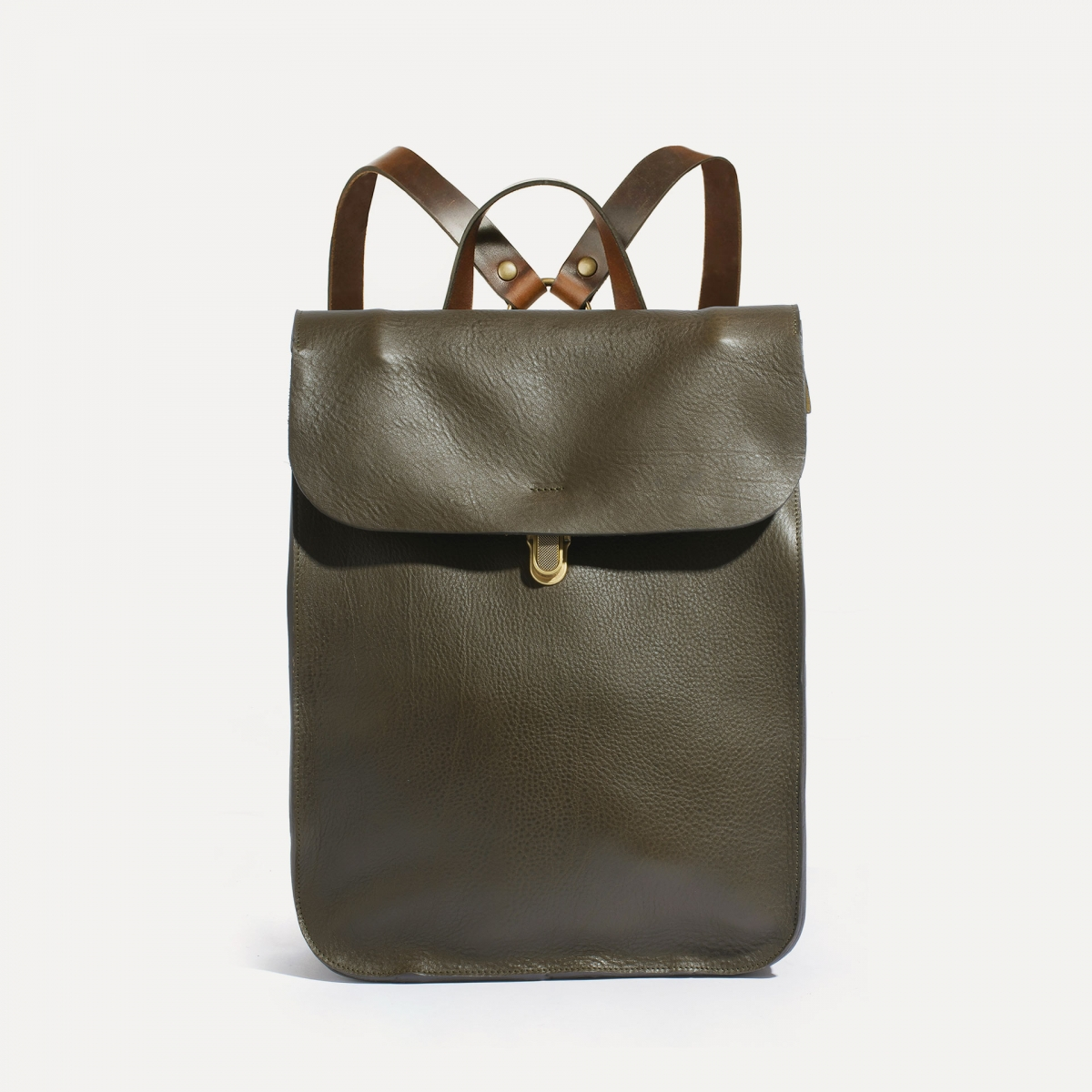 Puncho leather backpack - Khaki / E Pure (image n°1)