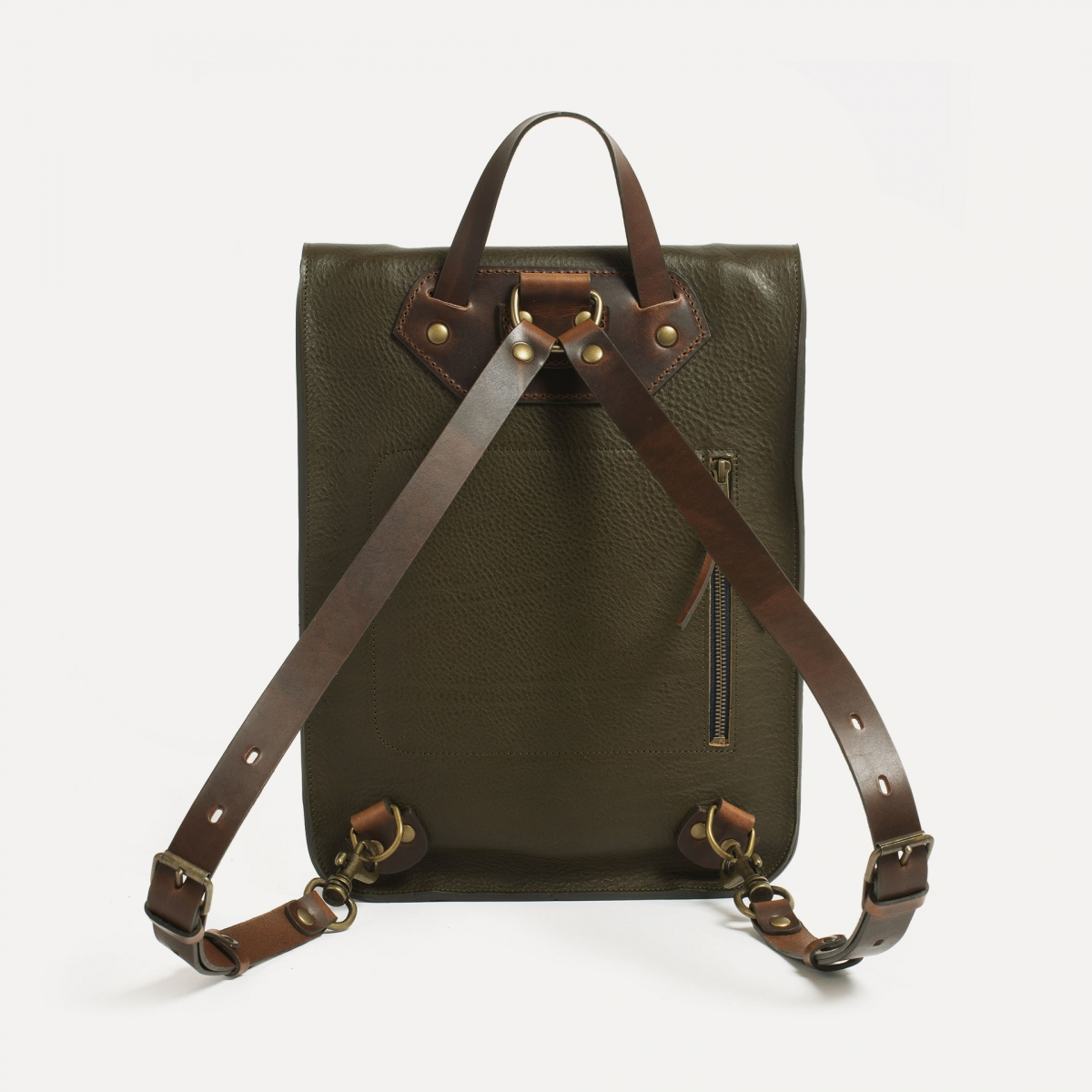 Puncho leather backpack - Khaki / E Pure (image n°2)