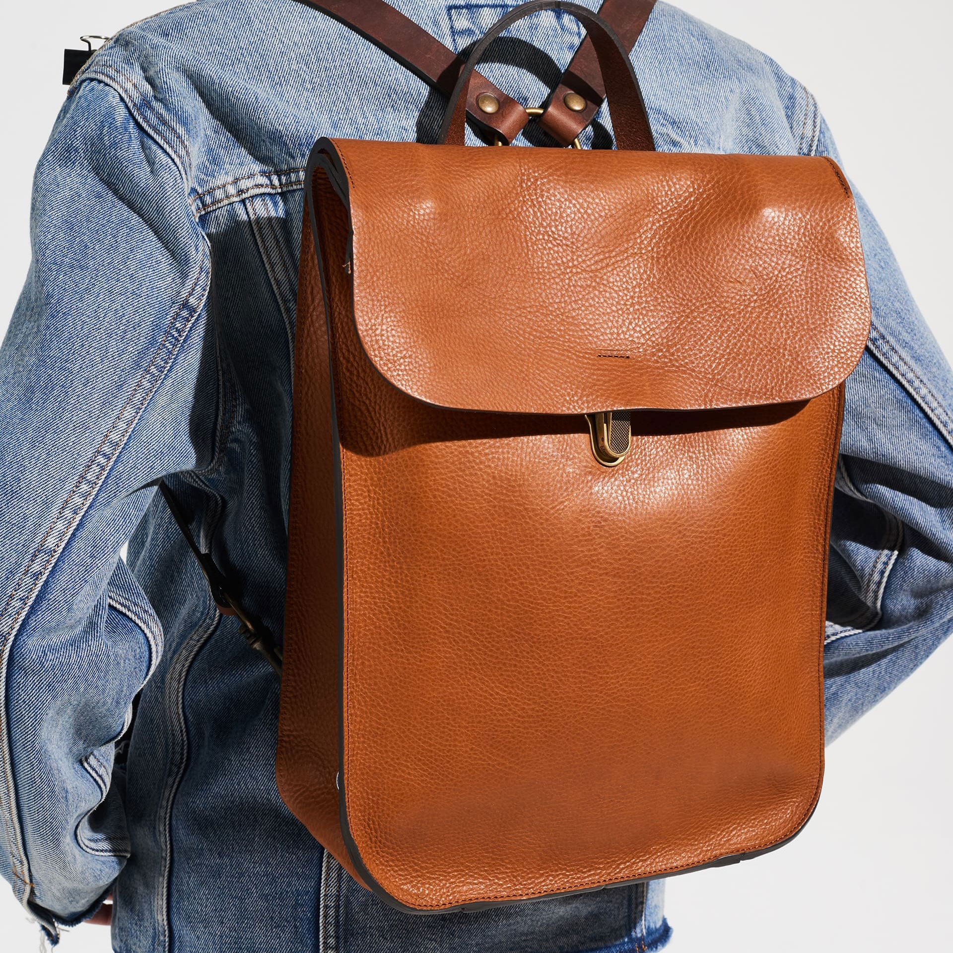 Puncho leather backpack - Navy Blue / E Pure (image n°6)