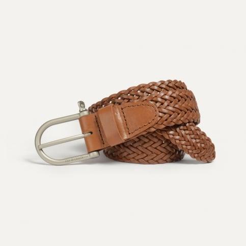 Manille Belt / braided leather - Pain brûlé