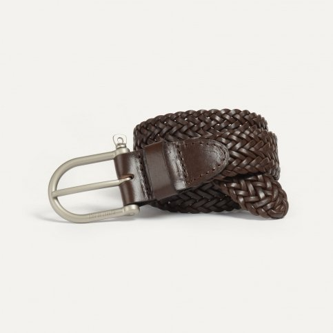 Manille Belt / braided leather - Expresso