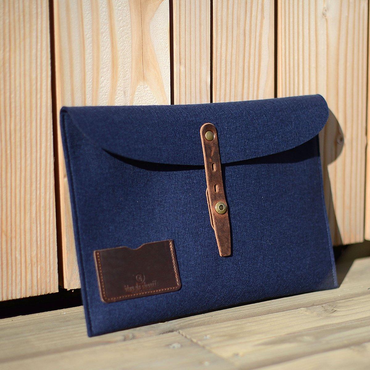 """Misha 13"""" Laptop sleeve - Blue felt (image n°4)"""
