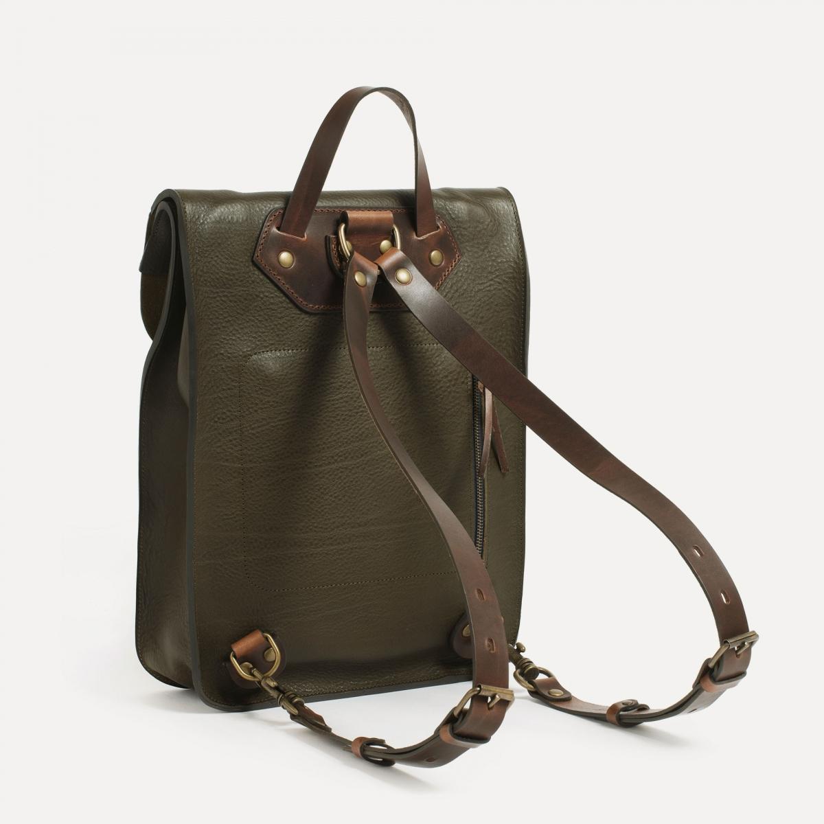Puncho leather backpack - Khaki / E Pure (image n°3)
