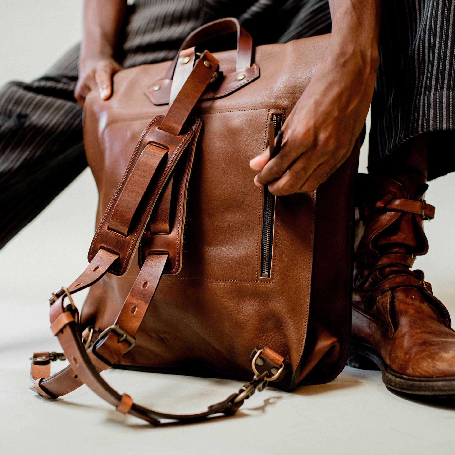 Arlo leather backpack - Khaki / E Pure (image n°6)