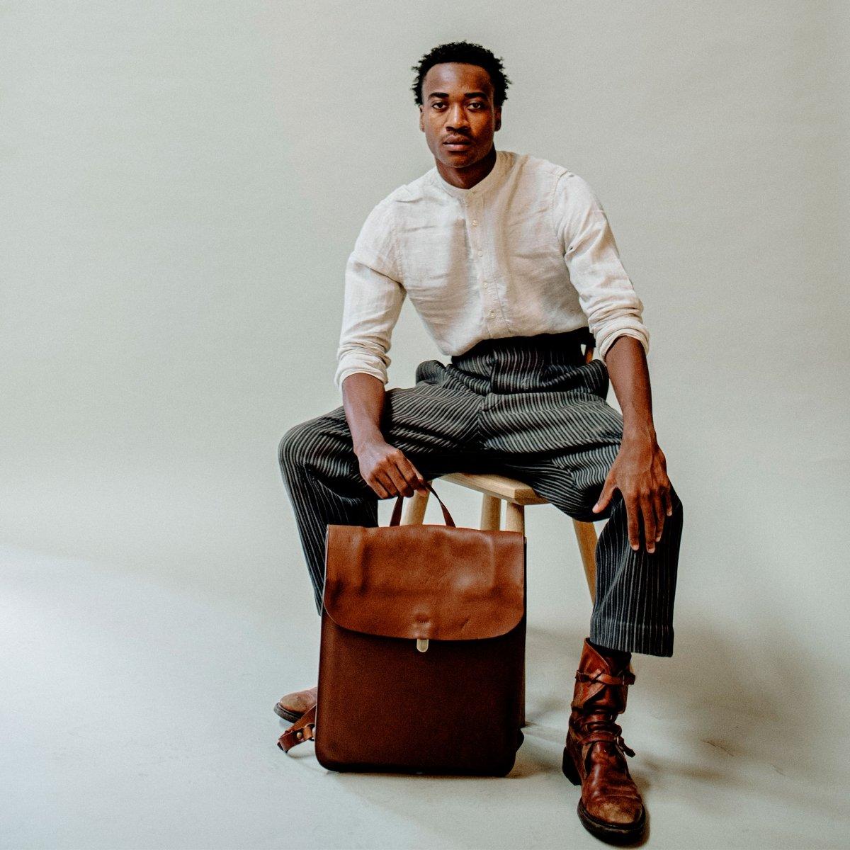 Arlo leather backpack - Khaki / E Pure (image n°7)