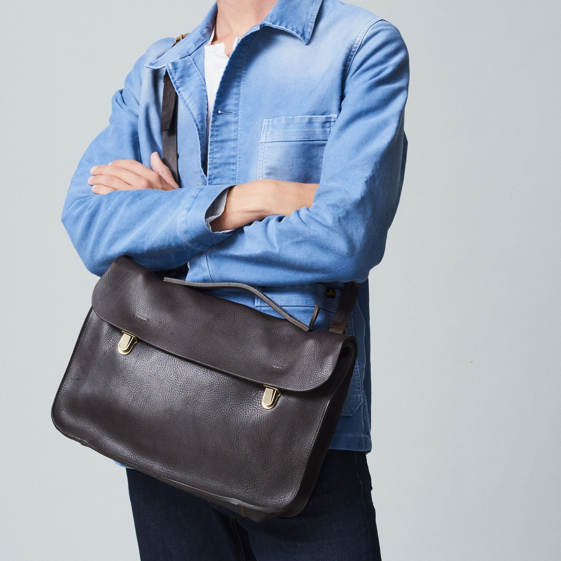 Groucho Leather Satchel - Black / E Pure (image n°5)