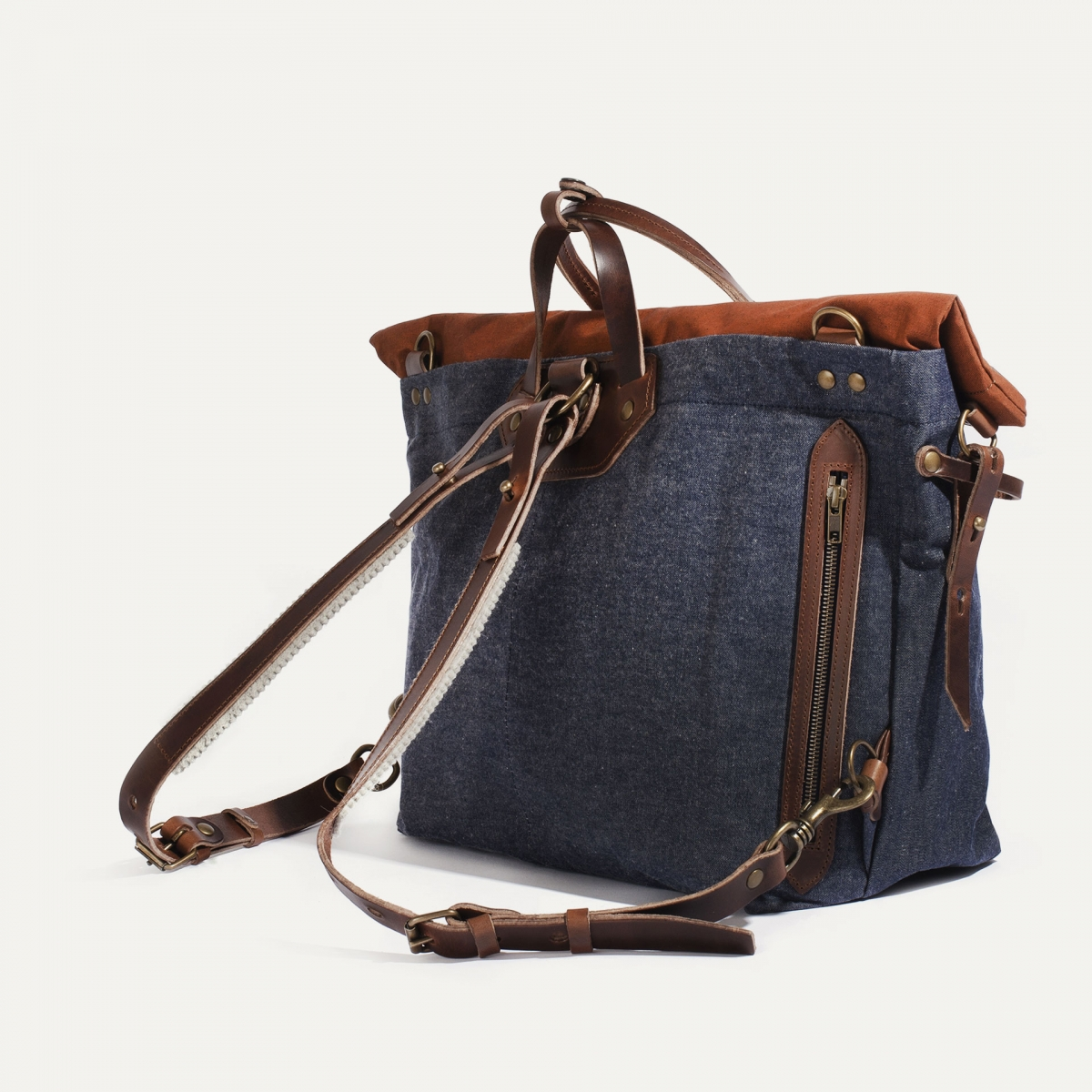 Woody L Backpack - Denim/Terra cotta (image n°3)