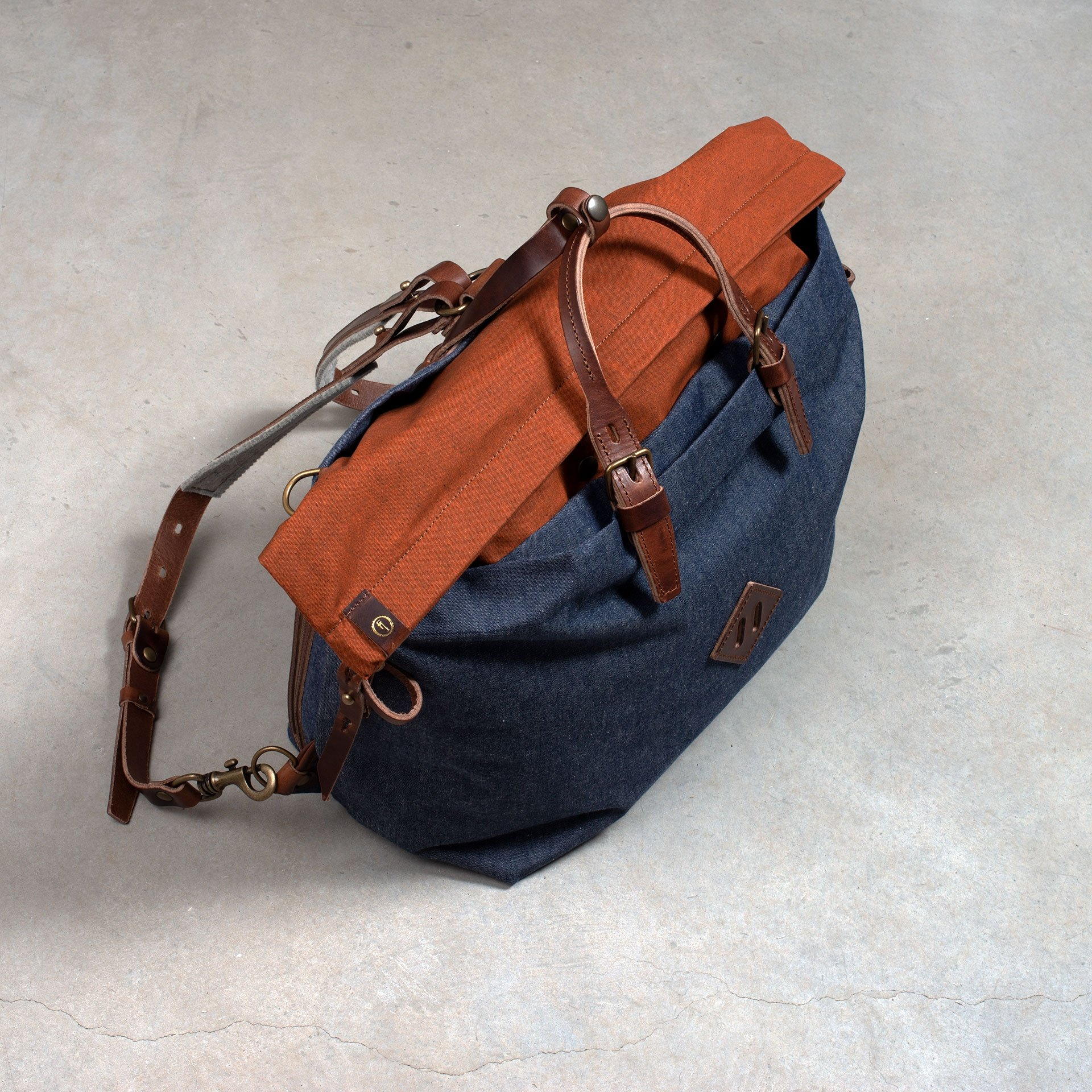 Woody L Backpack - Denim/Terra cotta (image n°5)