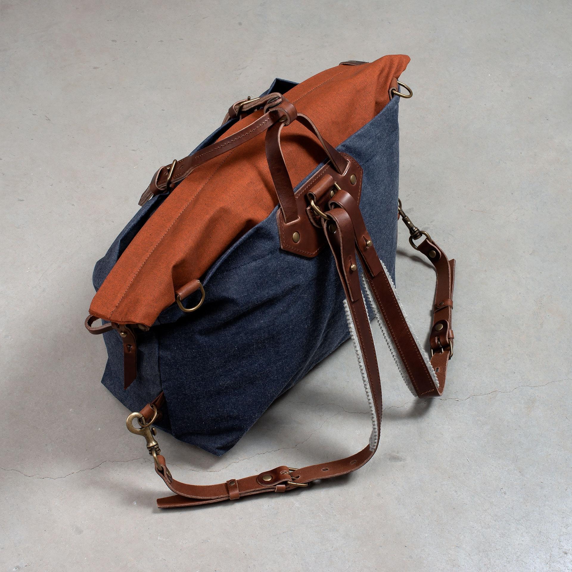 Woody L Backpack - Denim/Terra cotta (image n°6)
