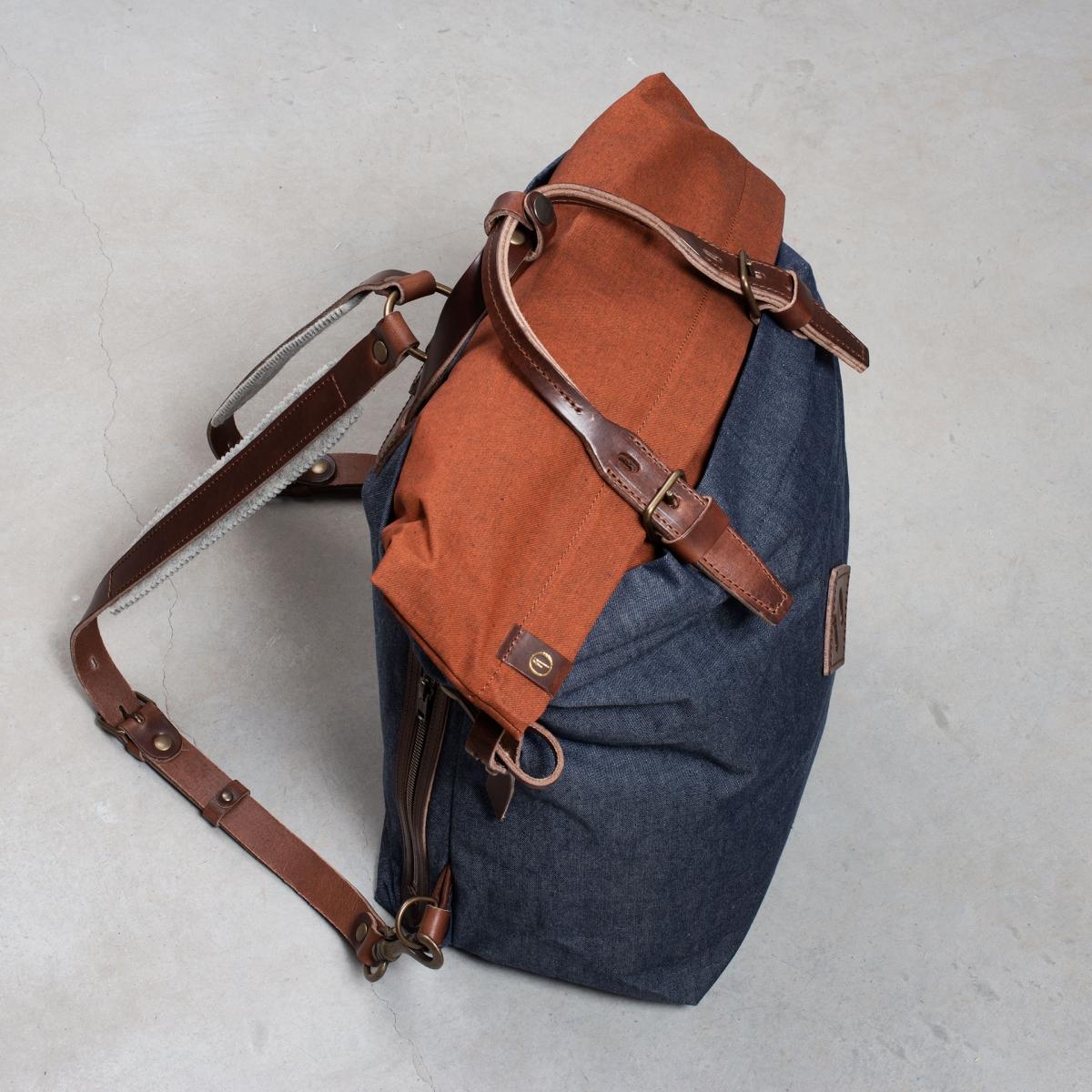 Woody M Backpack - Denim/Terra cotta (image n°6)