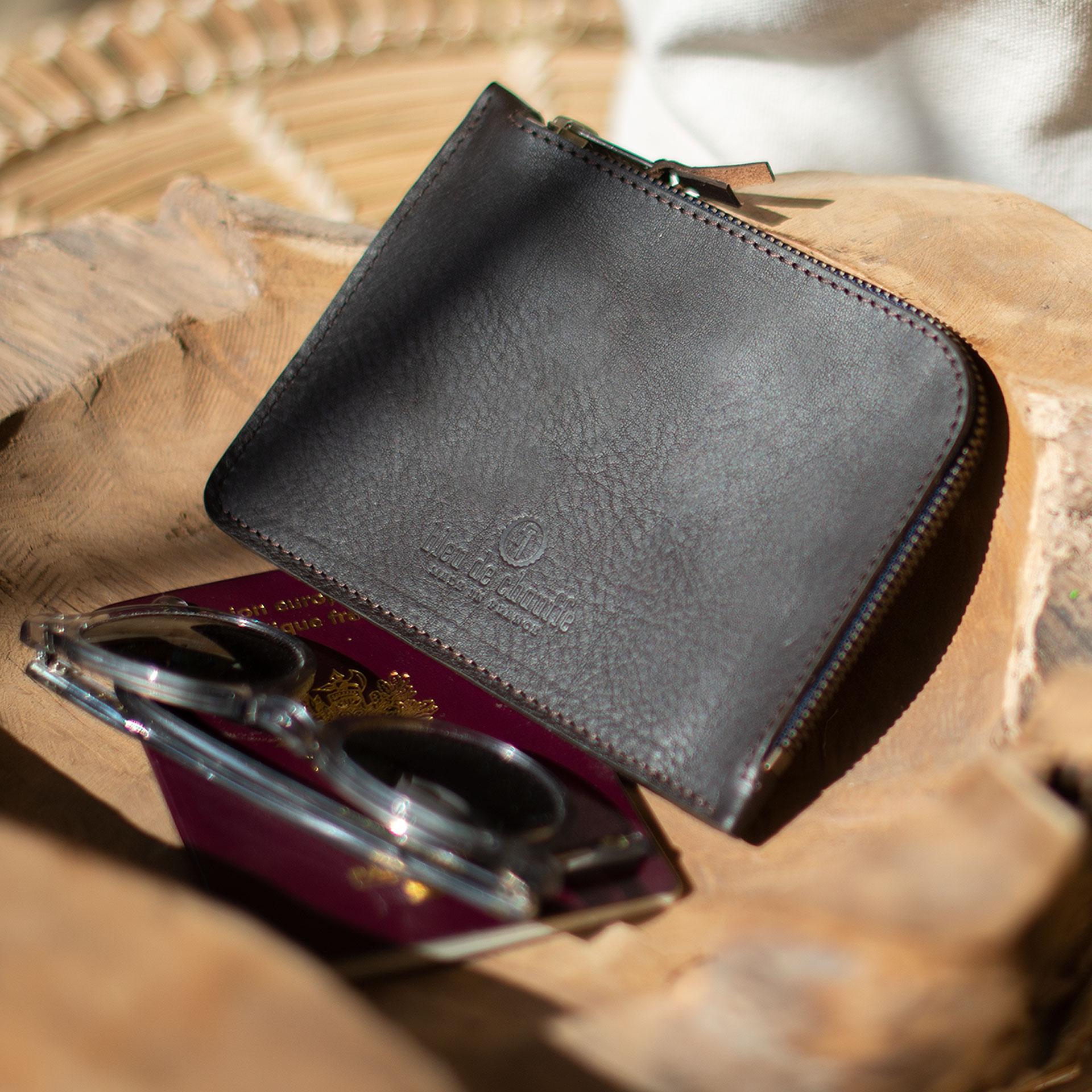 Porte monnaie zippé Daron / XL - Marron Brun (image n°3)