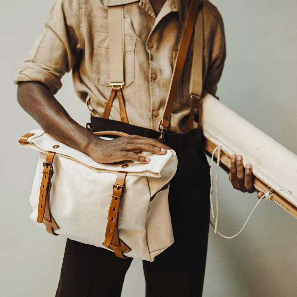 "Gaston tool bag – ""Musette"" - Ecru (image n°7)"