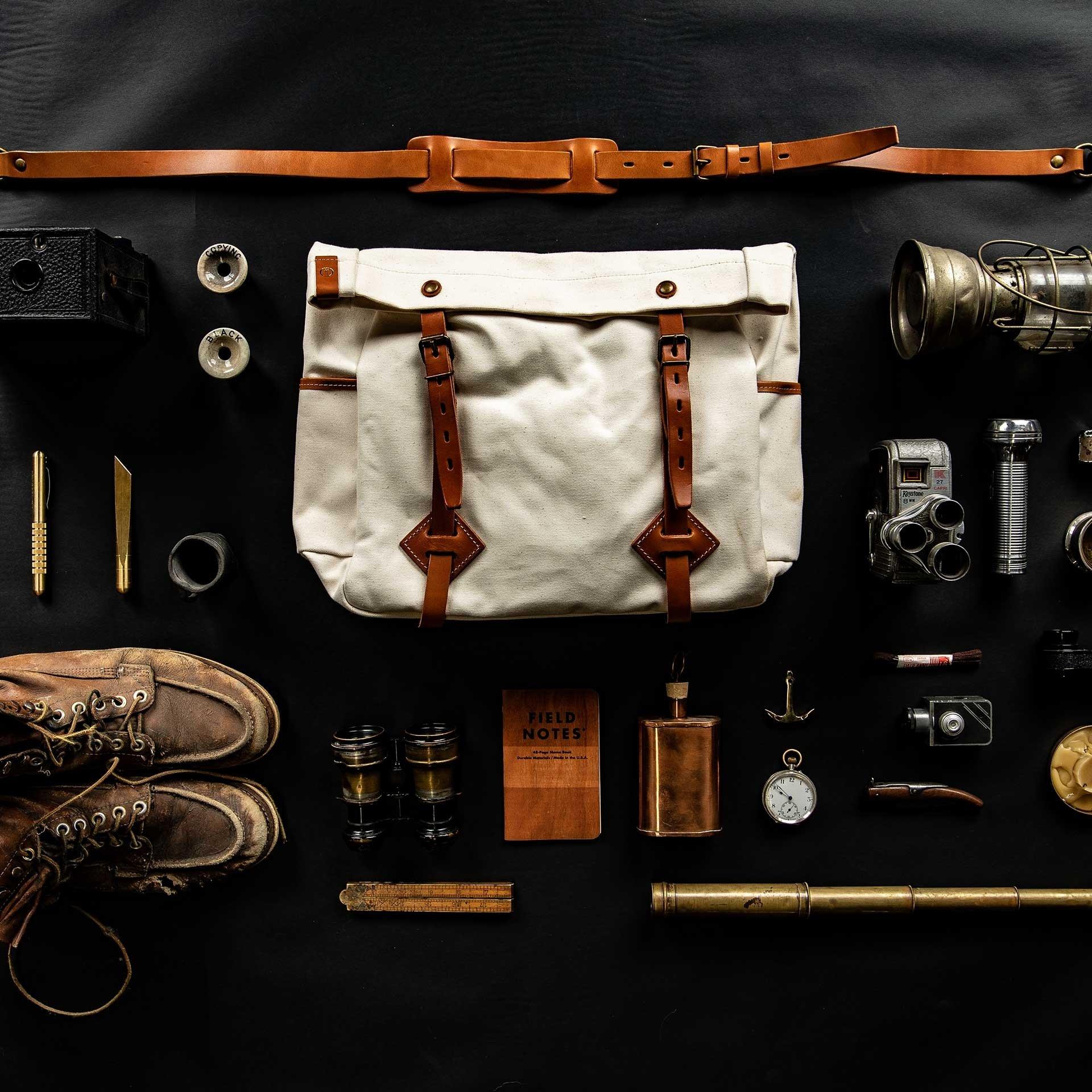 "Gaston tool bag – ""Musette"" - Ecru (image n°5)"