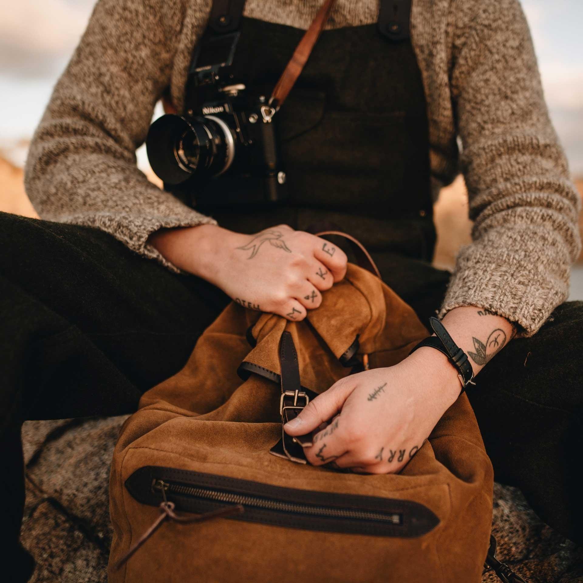 Camp backpack / Suede - Tobacco (image n°7)