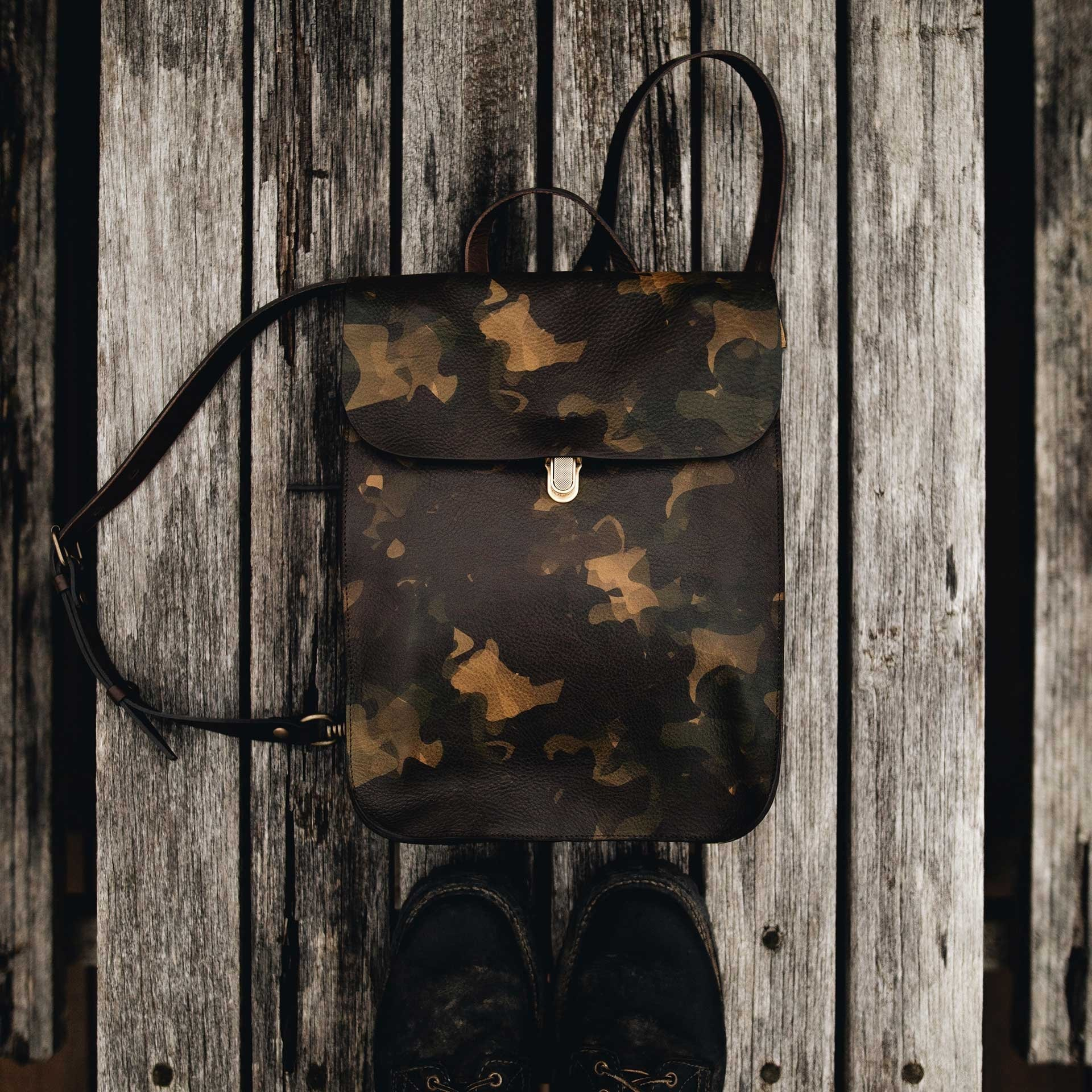 Puncho leather backpack - Camo (image n°5)