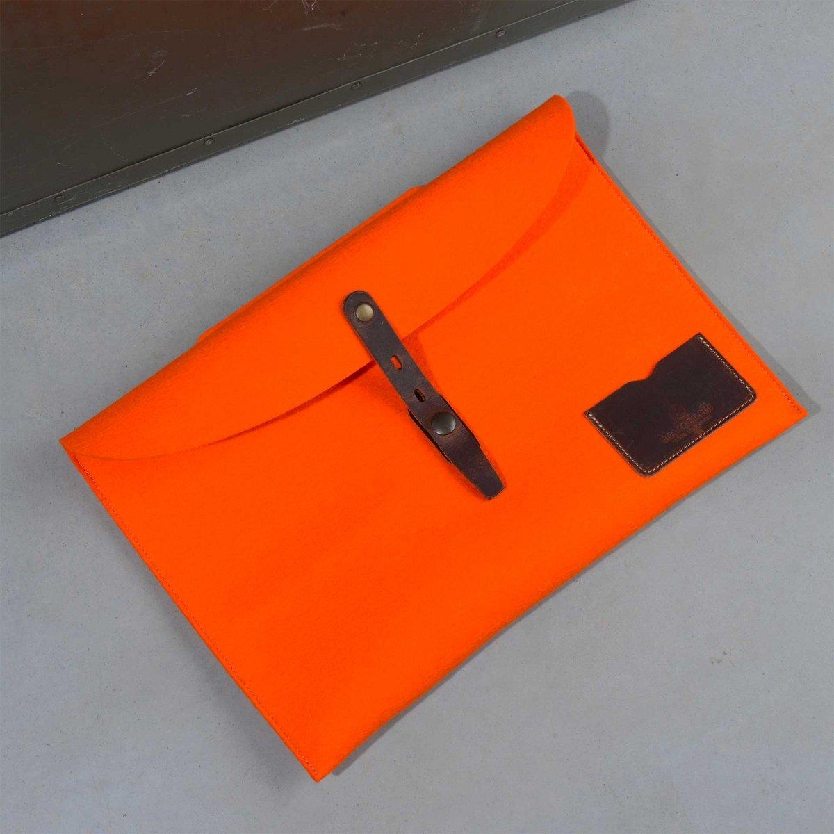 """Misha 15"""" Laptop sleeve - Orange felt (image n°2)"""