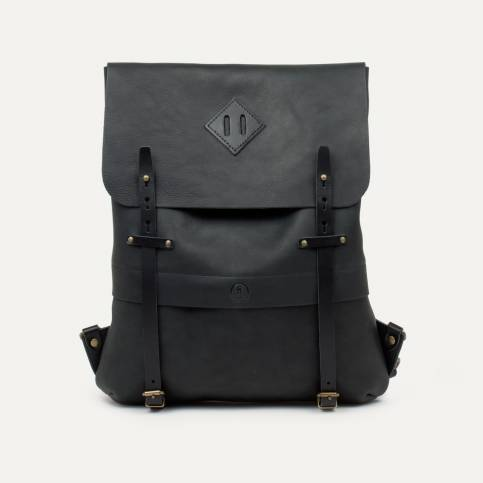 Coursier leather backpack - Black