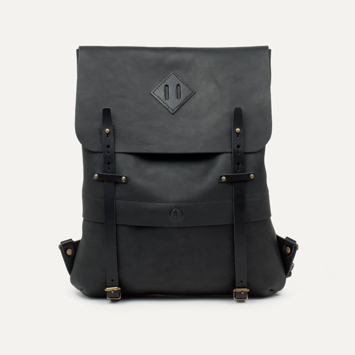 Coursier leather backpack - Black (image n°1)