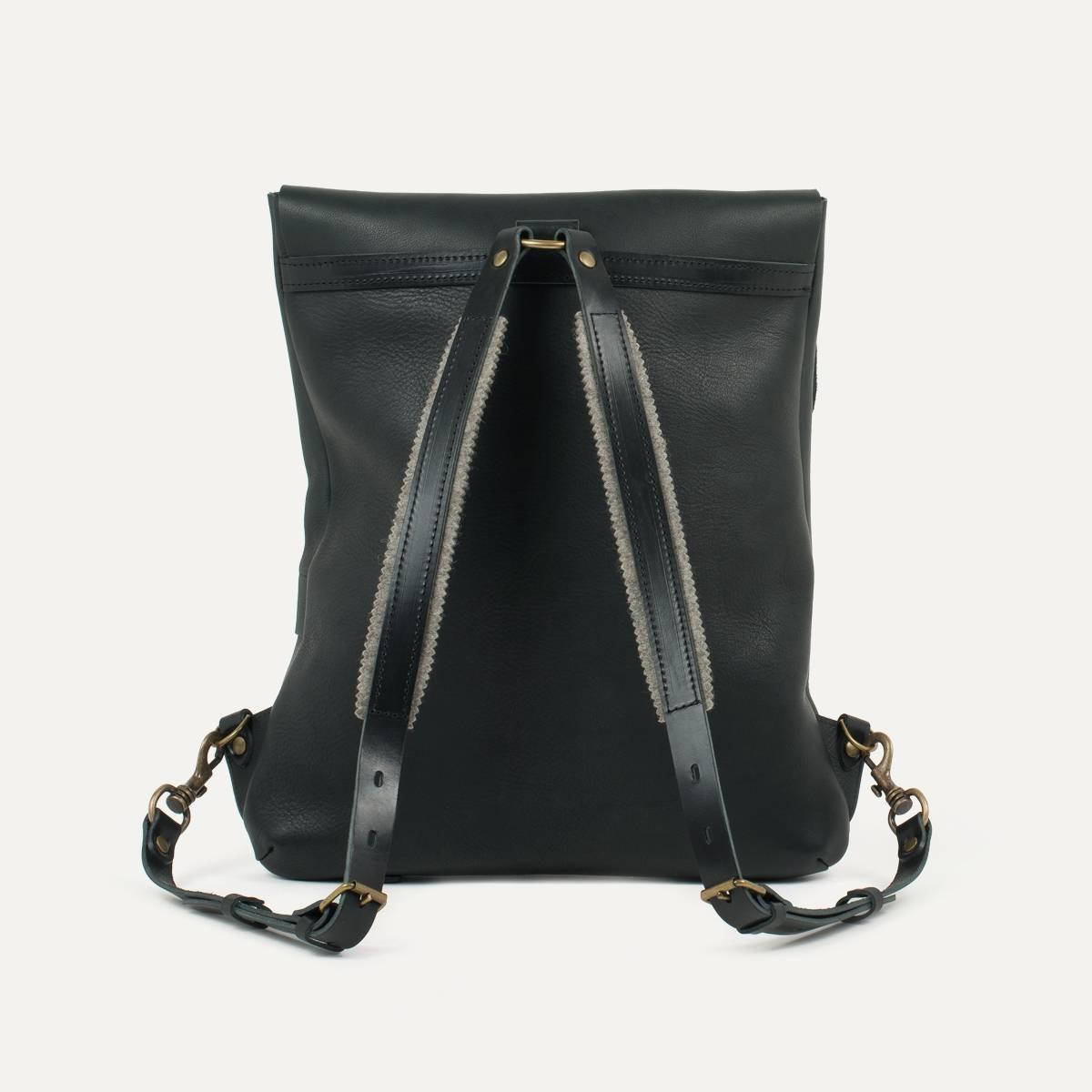 Coursier leather backpack - Black (image n°2)