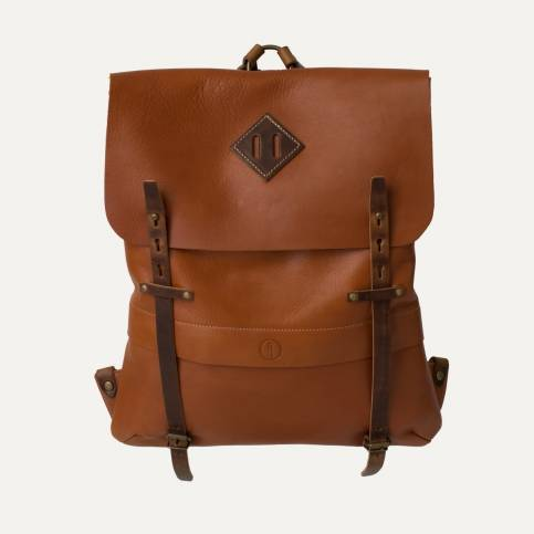 Coursier leather backpack - Pain brûlé