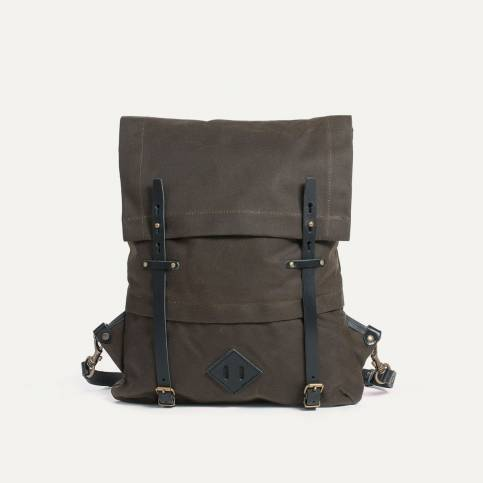 Coursier backpack WAXY - Khaki/Black
