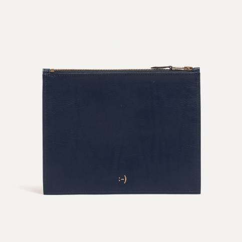Leather Pouch COSMO M - Navy Blue