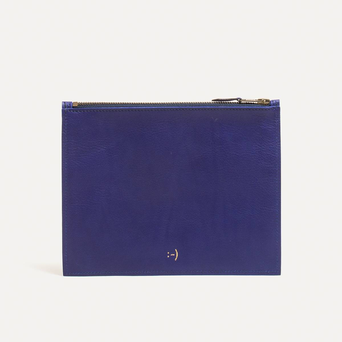 Leather Pouch COSMO M - blue (image n°1)