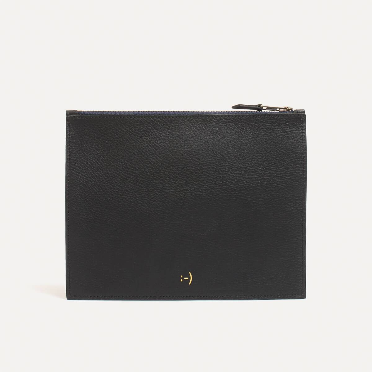 Leather Pouch COSMO M - Black (image n°1)
