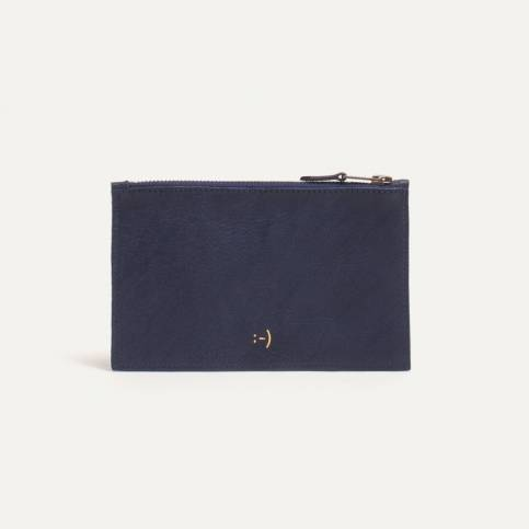 Leather Pouch COSMO S - Navy blue