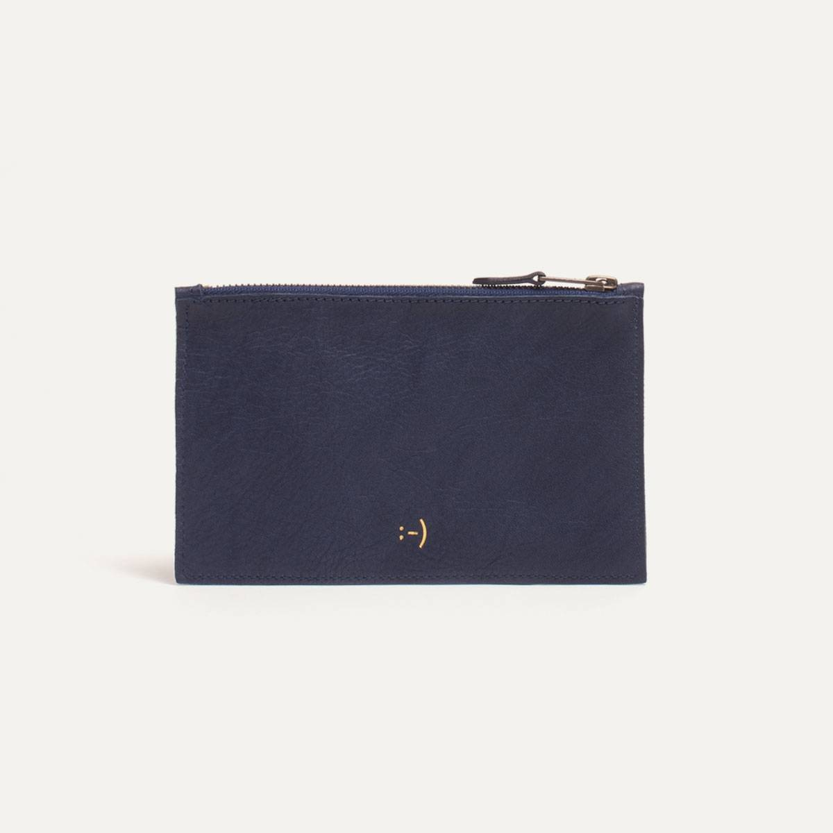 Leather Pouch COSMO S - Navy blue (image n°1)