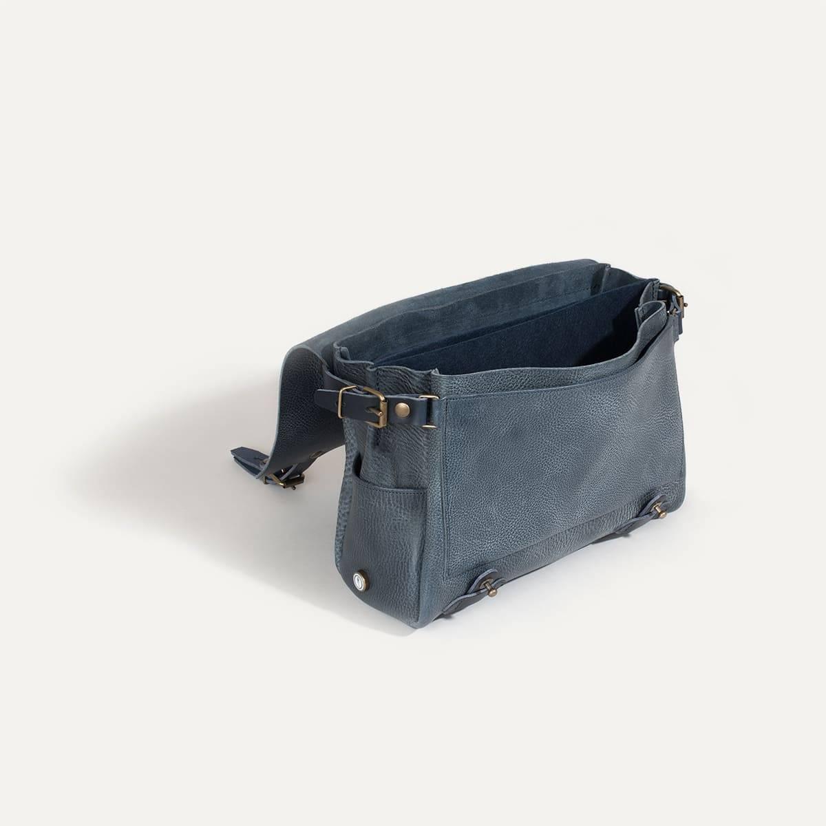 sac postier eclair i sac besace cuir tann v g tal bleu. Black Bedroom Furniture Sets. Home Design Ideas