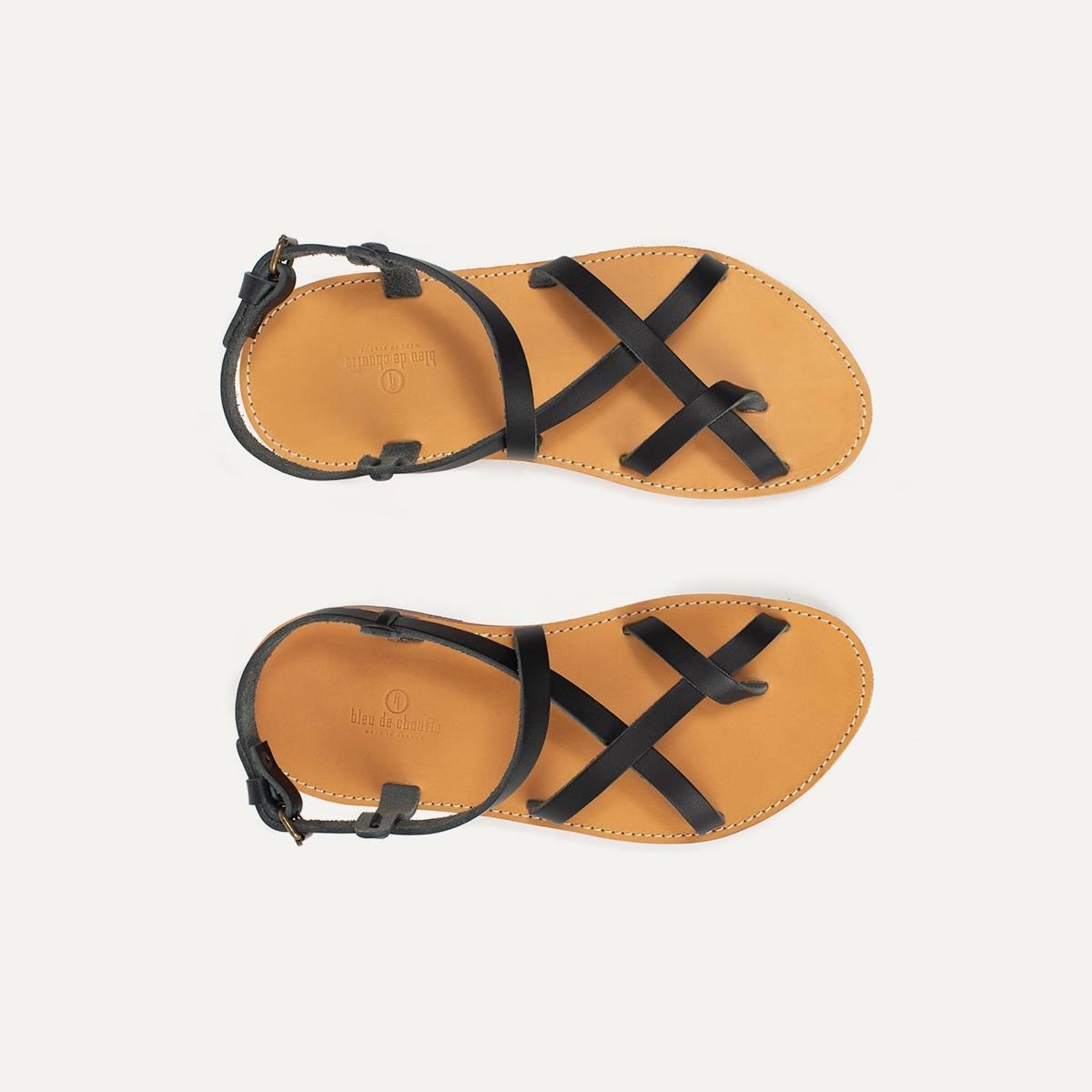Sandales cuir Nara - Noir (image n°1)