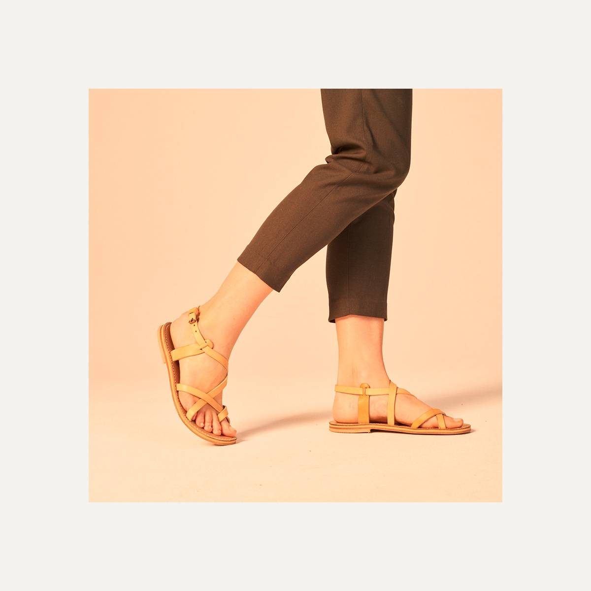 Nara leather sandals - Pain Brûlé (image n°6)