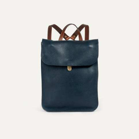 Puncho leather backpack - Navy Blue